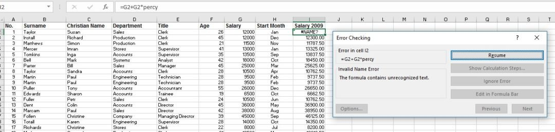 Excel worksheets Error Checking image