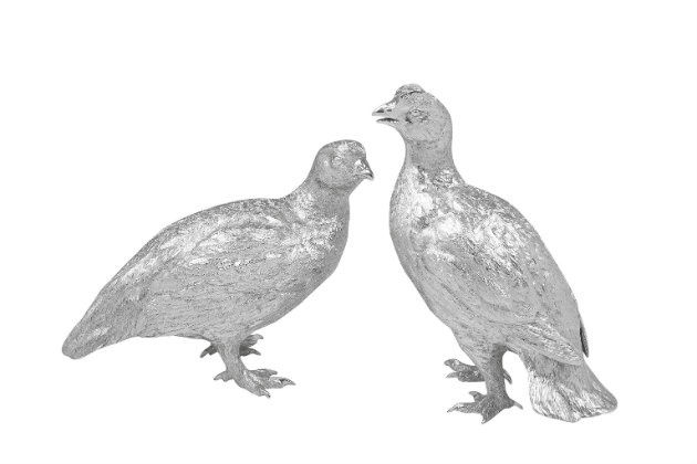 Silver grouse ornaments