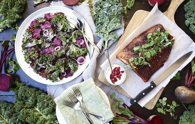 Tahini-marinaded kale