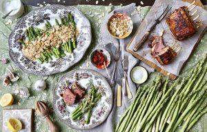 Asparagus with garlic-and-almond sourdough crumbs and harissa rack of lamb