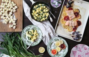 Salmon with citrus, red-onion flowers, potato gnocchi and wild-garlic cream sauce