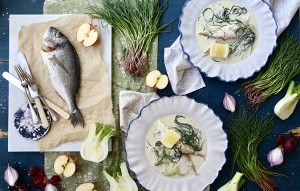 Roasted sea bream with agretti and cucumber