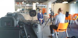 interviewed on camera