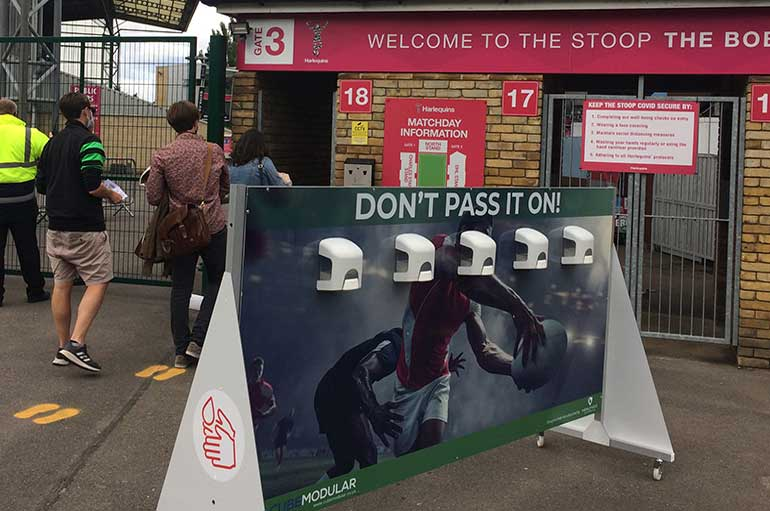 Harlequins install Cube's Hand Sanitiser Stations at Rugby's First Crowd